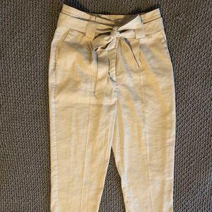 Khaki High Waisted Paperbag Ankle Pant